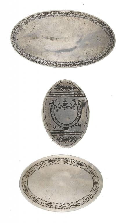 A GEORGE III SILVER NAVETTE SHAPED PATCH
