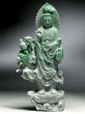 APPLE GREEN JADEITE GUANYIN Well carved,