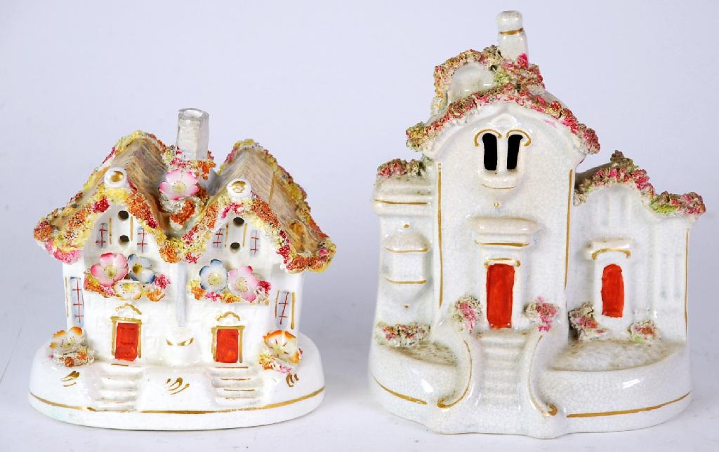 TWO NINETEENTH CENTURY STAFFORDSHIRE COTTAGES,