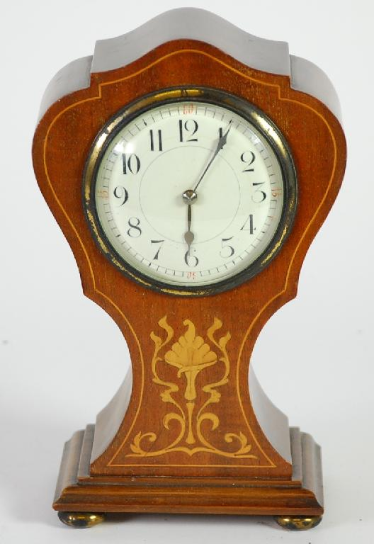 EDWARDIAN INLAID MAHOGANY MANTEL CLOCK, with