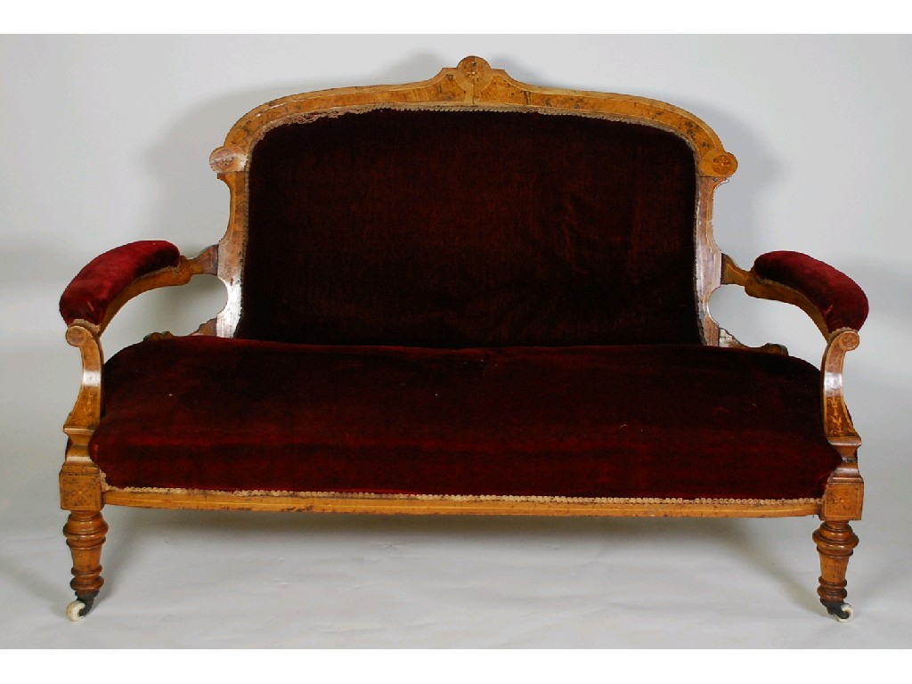 VICTORIAN MARQUETRY INLAID WALNUT AND BURR