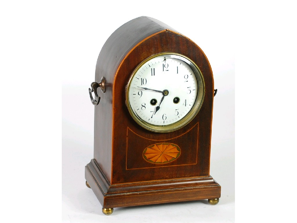 EDWARDIAN INLAID MAHOGANY MANTEL CLOCK, the