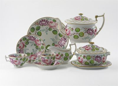 A matched English porcelain part tea service,