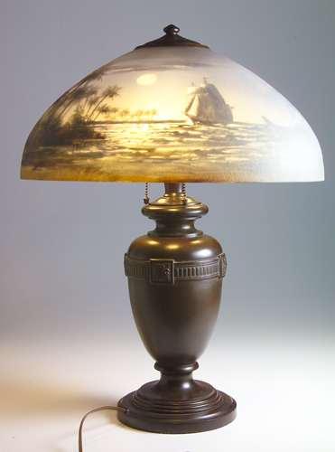 HANDEL Table lamp with an acid-etched shade