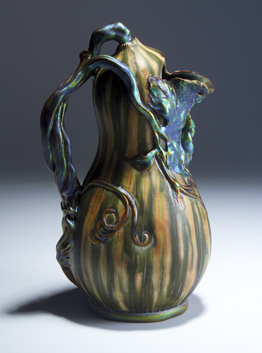 ZSOLNAY Gourd-shaped pitcher with modeled