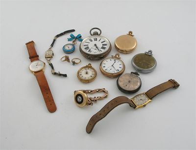 Miscellaneous watches, etc: three gilt metal