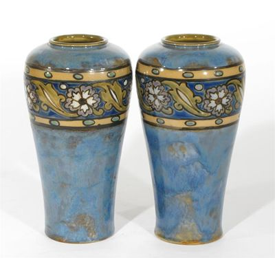 A pair of Royal Doulton stoneware vases by