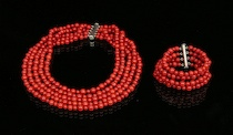 510. A Multi-Strand Beaded Coral Necklace