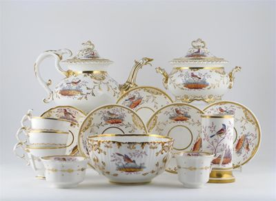 Various English porcelain teawares, all decorated