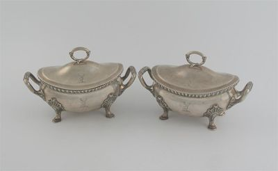 A pair of George III bellied oval sauce tureens,