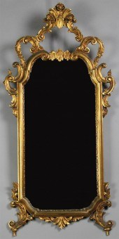 Pair Of Antique Venetian Mirrored Polychromecarved